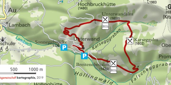 Wanderung zur Breitebenalm, Karseggalm und Unterwandalm in Großarl