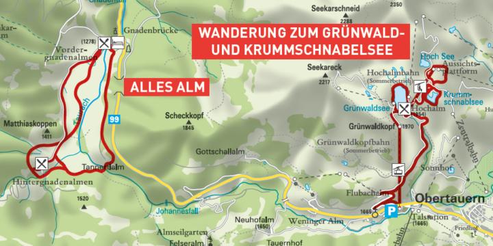Obertauern: Grünwald- und Krummschnabelsee